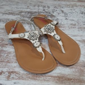 Candies White Flower Strappy Sandals